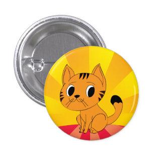 Resplandor solar lindo del gato pin redondo de 1 pulgada