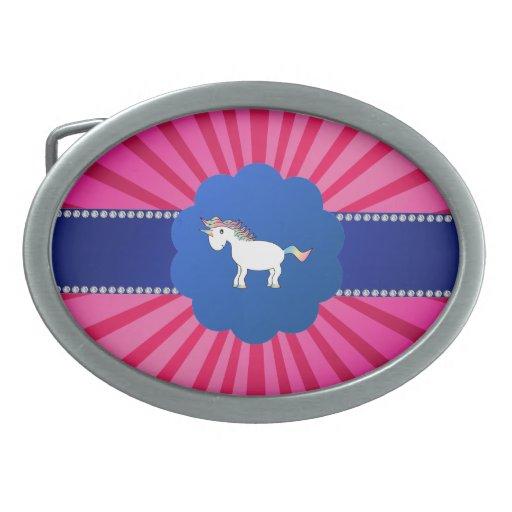 Resplandor solar lindo del rosa del unicornio hebilla cinturon
