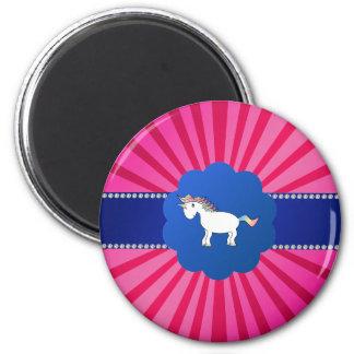 Resplandor solar lindo del rosa del unicornio imán redondo 5 cm