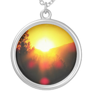 ¡RESPLANDOR SOLAR!! Puesta del sol anaranjada Colgante Redondo