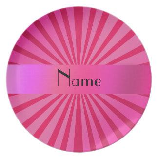 Resplandor solar rosado conocido personalizado platos para fiestas