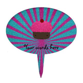 Resplandor solar rosado del brillo de la magdalena figura de tarta