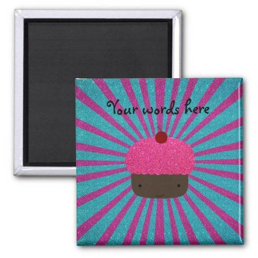 Resplandor solar rosado del brillo de la magdalena imán cuadrado