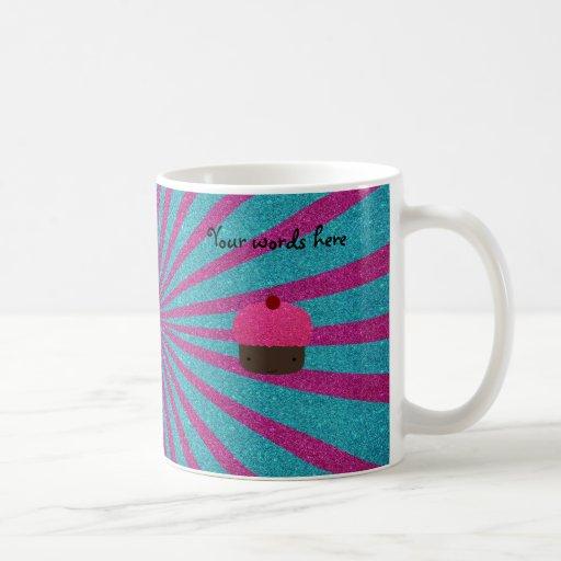 Resplandor solar rosado del brillo de la magdalena taza de café