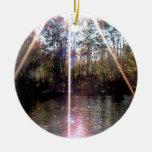 Resplandor solar sobre el río del remache ornamentos de navidad