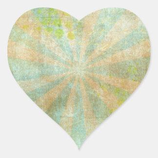 Resplandor solar sucio del verde azul pegatina en forma de corazón
