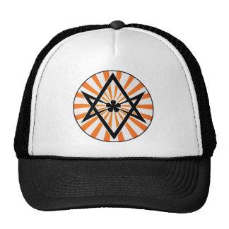 Resplandor solar Unicursal del naranja del Hexagra Gorras De Camionero