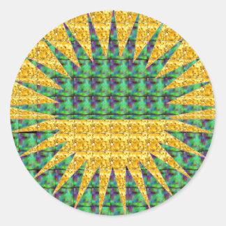 Resplandor solar - verde y amarillo pegatina redonda