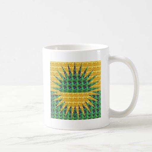 Resplandor solar - verde y amarillo tazas