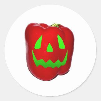 Resplandor verde Bell roja Peppolantern Pegatina Redonda