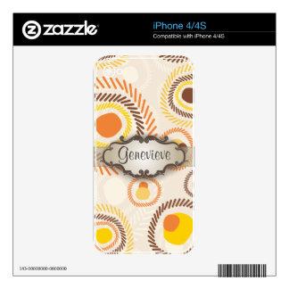 Resplandores solares de oro con el letrero skins para eliPhone 4