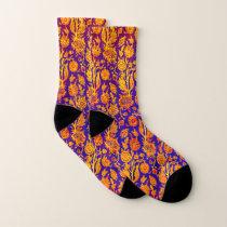 Resplendent Floral Red Blue Pattern Socks