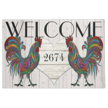 Resplendent Rooster Roost Welcome Door Mat