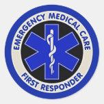 Respondedor de la asistencia médica de la emergenc etiquetas redondas