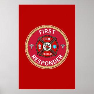 Respondedor del rescate del fuego primer póster