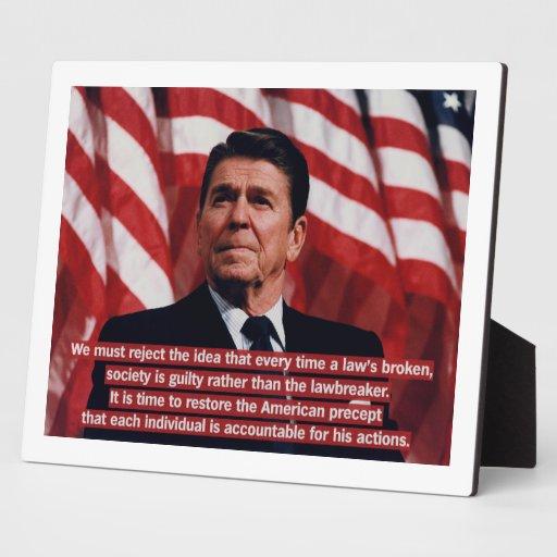 Responsabilidad del individuo de Reagan Placas Con Foto
