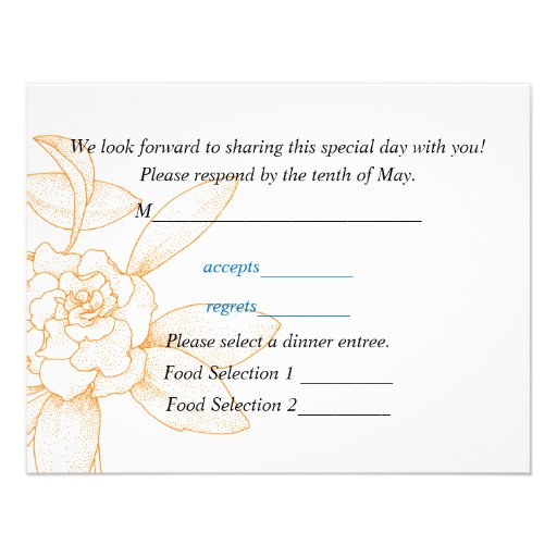 Response Card For Wedding Invitations 425 X 55 Invitation Card