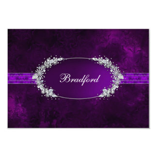 RESPONSE CARD - PURPLE - OVAL INSET - FAUX JEWELS