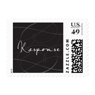 Response on a black and silver swirl background postage