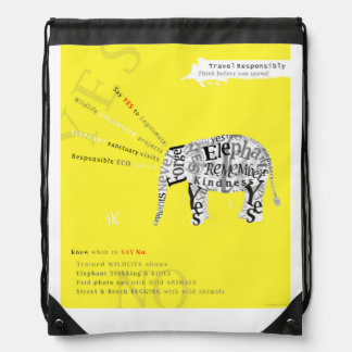 Responsible Tourism Elephant Conservation Poster Drawstring Bags