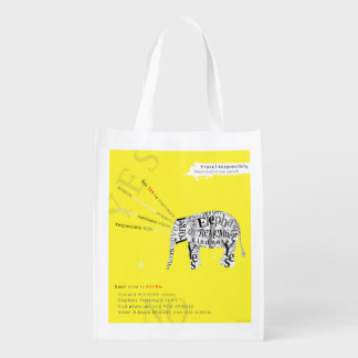 Responsible Tourism Elephant Conservation Poster Reusable Grocery Bags