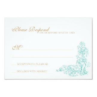 Respuesta adornada del azul y del oro del vintage invitación 8,9 x 12,7 cm