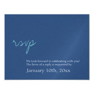 Respuesta azul del rsvp del boda del reflejo invitación 10,8 x 13,9 cm