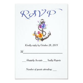"""Respuesta azul floral de RSVP del ancla náutica Invitación 3.5"""" X 5"""""""
