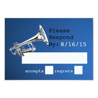 """Respuesta azul y de plata de la trompeta invitación 3.5"""" x 5"""""""