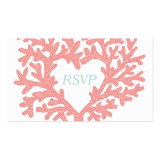 Respuesta coralina de RSVP del boda de playa de la Tarjetas De Visita