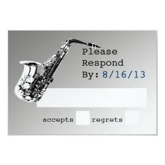 """Respuesta de plata del saxofón invitación 3.5"""" x 5"""""""