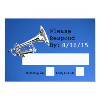 """Respuesta del azul de la trompeta invitación 3.5"""" x 5"""""""