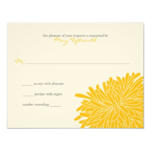 """Respuesta del boda del crisantemo invitación 4.25"""" x 5.5"""""""