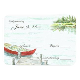 """Respuesta del boda del lago canoe de la acuarela invitación 3.5"""" x 5"""""""