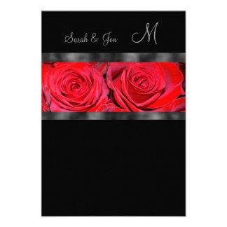 Respuesta del boda del monograma de los rosas rojo invitación personalizada