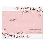 Respuesta elegante rosada RSVP del boda de la flor Invitación 10,8 X 13,9 Cm