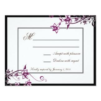 Respuesta floral blanca RSVP del boda del flor de Invitación 10,8 X 13,9 Cm