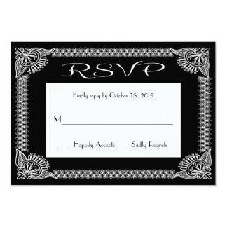 """Respuesta floral blanco y negro retra de RSVP RSVP Invitación 3.5"""" X 5"""""""