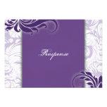 Respuesta floral elegante blanca púrpura RSVP del  Comunicados