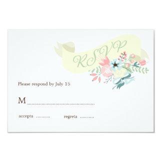 Respuesta floral moderna de RSVP que se casa Invitación 8,9 X 12,7 Cm