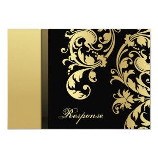 Respuesta floral RSVP del boda del reflejo negro Invitación 8,9 X 12,7 Cm