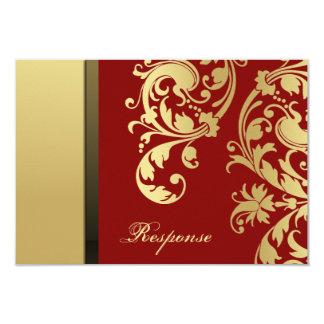 Respuesta floral RSVP del boda del reflejo rojo Invitación 8,9 X 12,7 Cm