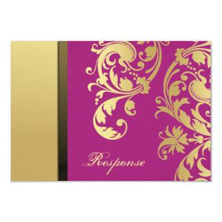Respuesta floral RSVP del boda del reflejo rosado Invitación 8,9 X 12,7 Cm