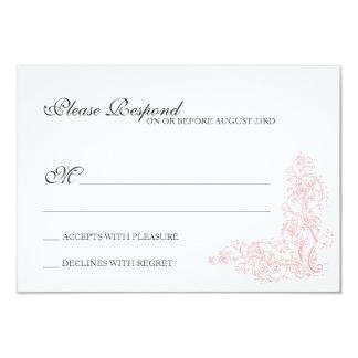 Respuesta rosada del vintage y gris adornada invitación 8,9 x 12,7 cm