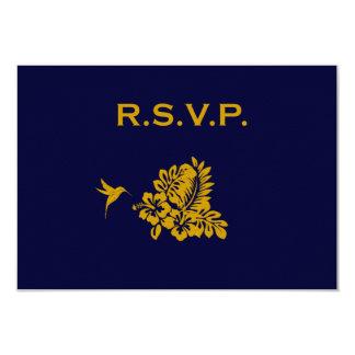 Respuesta RSVP del boda del hibisco del pasaporte Invitación 8,9 X 12,7 Cm