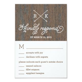 Respuesta rústica del boda de la corteza/tarjetas invitación 8,9 x 12,7 cm