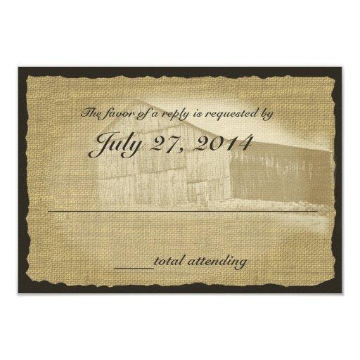 Respuesta rústica del boda del granero invitación 8,9 x 12,7 cm
