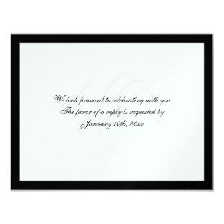 Respuesta tradicional del boda del reflejo negro invitación 10,8 x 13,9 cm