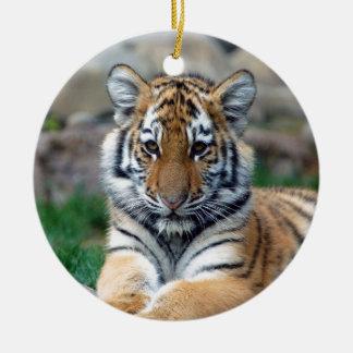 Rest and Recharge for bigger success Big Tiger Cub Ceramic Ornament