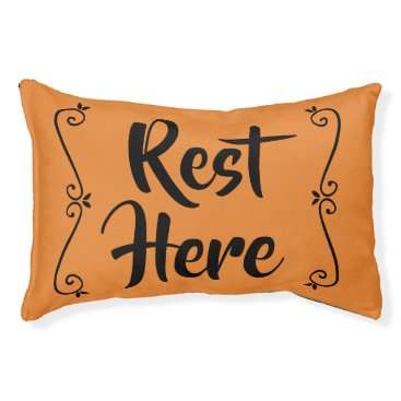 Halloween Themed Rest Here Pet Bed (Orange with Black)